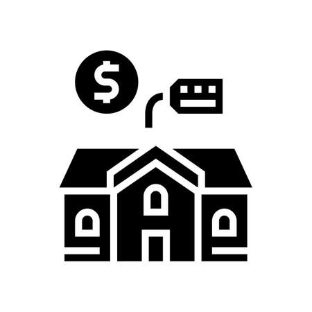 house building rental glyph icon vector. house building rental sign. isolated contour symbol black illustration 向量圖像