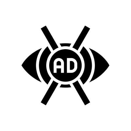 advertisement no vision glyph icon vector. advertisement no vision sign. isolated contour symbol black illustration 向量圖像