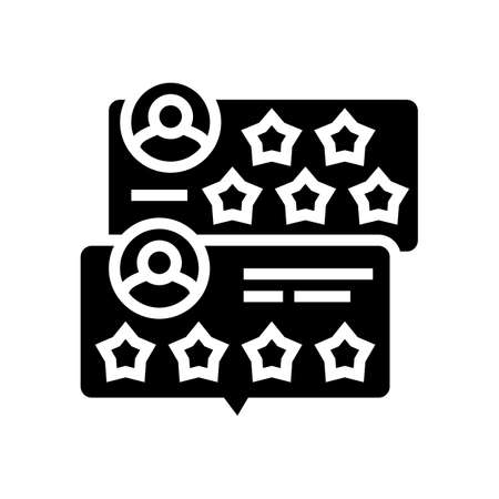 customer review glyph icon vector. customer review sign. isolated contour symbol black illustration