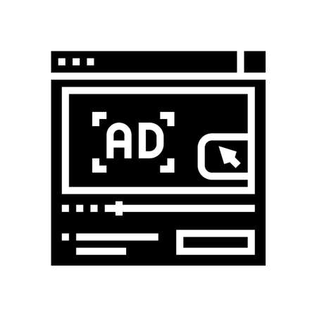 video advertisement glyph icon vector. video advertisement sign. isolated contour symbol black illustration