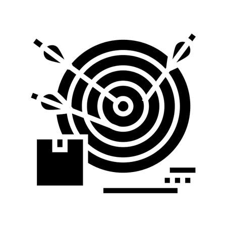 business target glyph icon vector. business target sign. isolated contour symbol black illustration