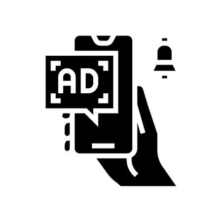 advertisement signal phone glyph icon vector. advertisement signal phone sign. isolated contour symbol black illustration
