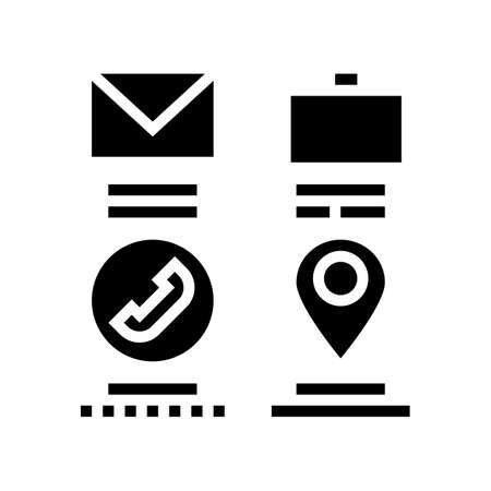 mail, business call and location glyph icon vector. mail, business call and location sign. isolated contour symbol black illustration 向量圖像