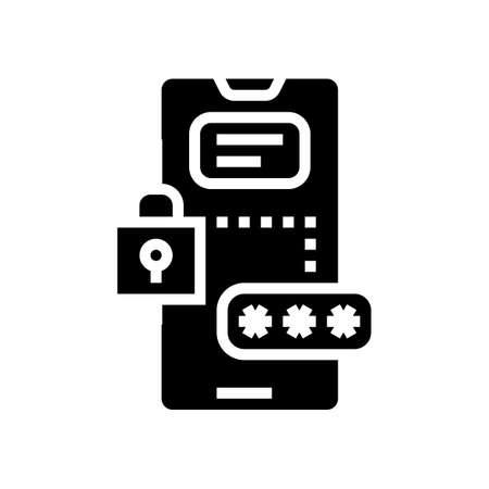 smartphone password glyph icon vector. smartphone password sign. isolated contour symbol black illustration