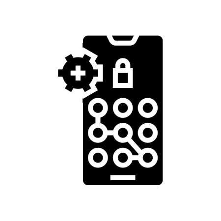 screen lock password glyph icon vector. screen lock password sign. isolated contour symbol black illustration
