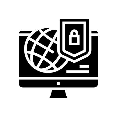 world protection internet password glyph icon vector. world protection internet password sign. isolated contour symbol black illustration