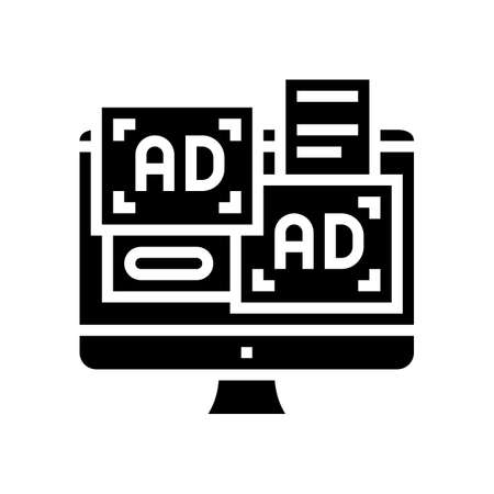 advertisement banners on computer screen glyph icon vector. advertisement banners on computer screen sign. isolated contour symbol black illustration