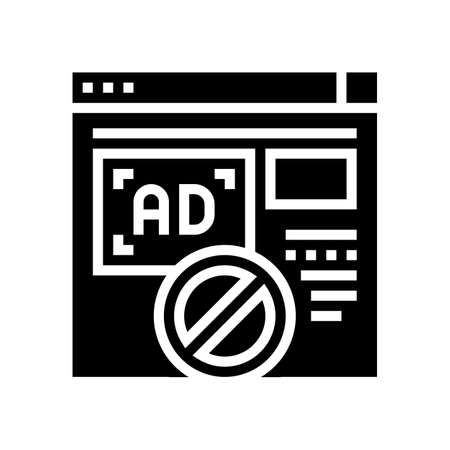 blocked ads web site glyph icon vector. blocked ads web site sign. isolated contour symbol black illustration