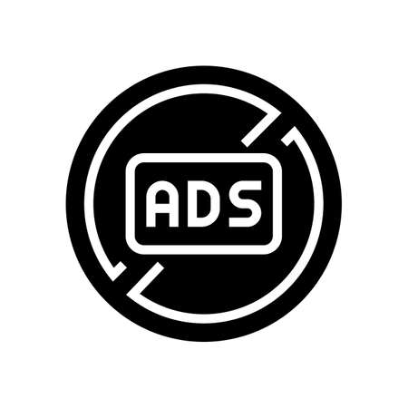 ads crossed out mark glyph icon vector. ads crossed out mark sign. isolated contour symbol black illustration