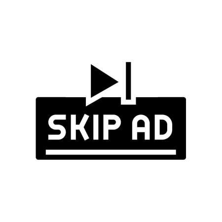 skip ad button glyph icon vector. skip ad button sign. isolated contour symbol black illustration