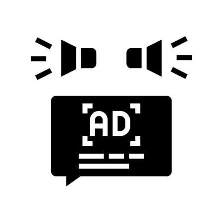 advertisment audio promotion glyph icon vector. advertisment audio promotion sign. isolated contour symbol black illustration