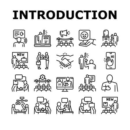 Introduction Speech Collection Icons Set Vector. New Product And Business Case Presentation, Employee And Artificial Intelligence Introduction Black Contour Illustrations