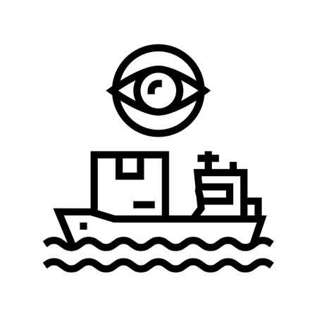 ship shipment management and control line icon vector. ship shipment management and control sign. isolated contour symbol black illustration