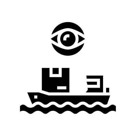 ship shipment management and control glyph icon vector. ship shipment management and control sign. isolated contour symbol black illustration Ilustración de vector