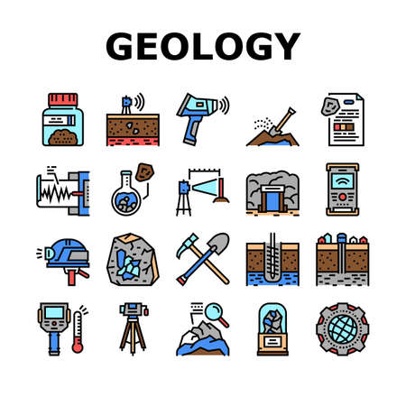 Geology Researching Collection Icons Set Vector. Gyro Theodolite And And Laser Level, Field Controller And Thermal Imager Geology Equipment Concept Linear Pictograms. Contour Illustrations