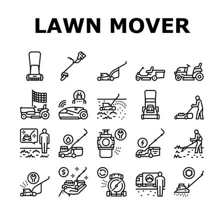 Lawn Mower Equipment Collection Icons Set Vector. Electrical, Gasoline And Smart Automatical Lawn Mower Garden Machine For Cutting Grass Black Contour Illustrations