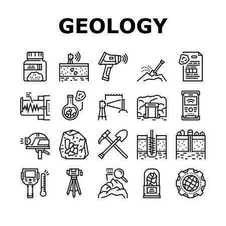 Geology Researching Collection Icons Set Vector. Gyro Theodolite And And Laser Level, Field Controller And Thermal Imager Geology Equipment Black Contour Illustrations