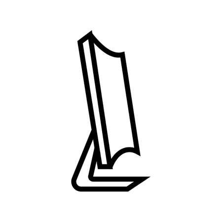 curved computer screen line icon vector. curved computer screen sign. isolated contour symbol black illustration