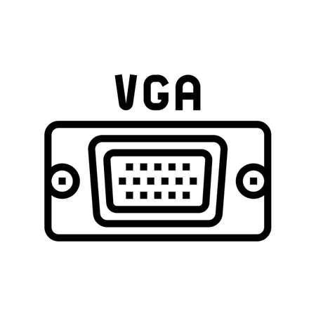 vga computer port line icon vector. vga computer port sign. isolated contour symbol black illustration