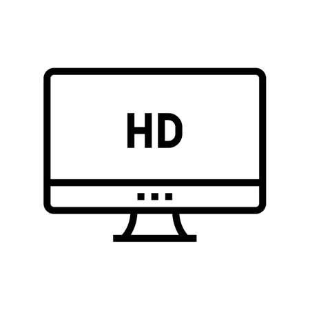 hd resolution computer screen line icon vector. hd resolution computer screen sign. isolated contour symbol black illustration Vektoros illusztráció
