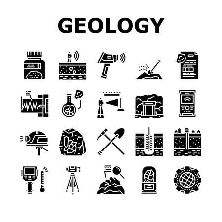 Geology Researching Collection Icons Set Vector. Gyro Theodolite And And Laser Level, Field Controller And Thermal Imager Geology Equipment Glyph Pictograms Black Illustrations