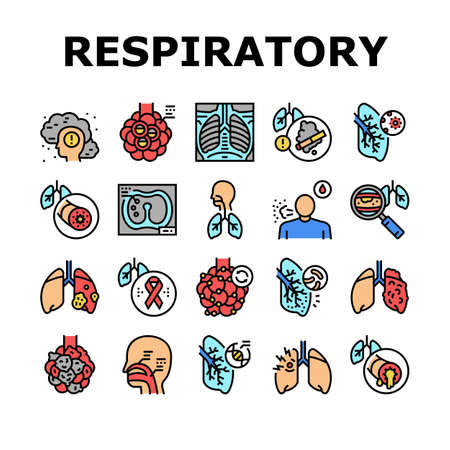 Respiratory Disease Collection Icons Set Vector. Lungs Infection, Asthma And Tuberculosis, Bronchiectasis And Cystic Fibrosis Respiratory Ill Concept Linear Pictograms. Contour Color Illustrations