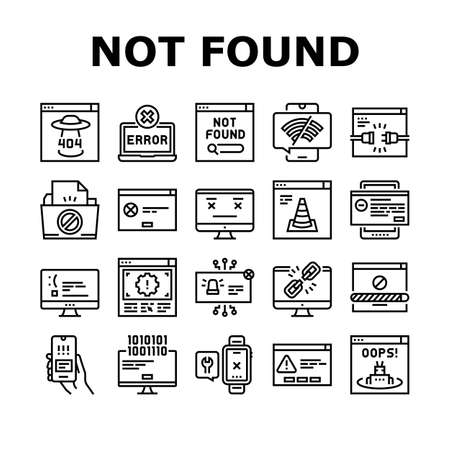 Not Found Web Page Collection Icons Set Vector. 404 Error And Not Found Internet Site, Lost Wire And Wireless Wifi Connection Black Contour Illustrations