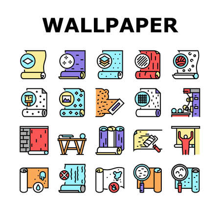 Wallpaper Interior Collection Icons Set Vector. Waterproof And Paper, Vinyl And Non-woven, Textile And Velor Wallpaper Rolls, Production Concept Linear Pictograms. Contour Color Illustrations