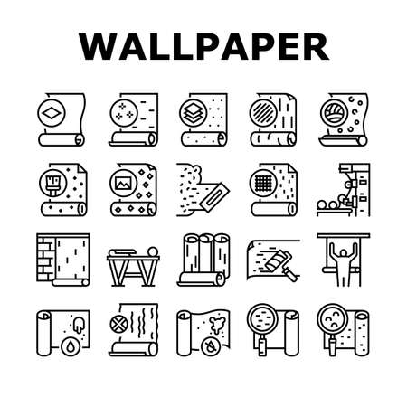 Wallpaper Interior Collection Icons Set Vector. Waterproof And Paper, Vinyl And Non-woven, Textile And Velor Wallpaper Rolls, Production Black Contour Illustrations