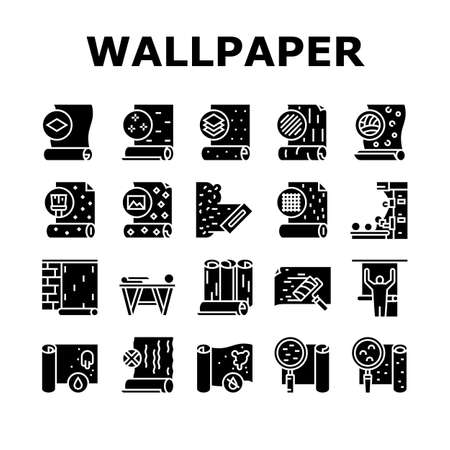Wallpaper Interior Collection Icons Set Vector. Waterproof And Paper, Vinyl And Non-woven, Textile And Velor Wallpaper Rolls, Production Glyph Pictograms Black Illustrations