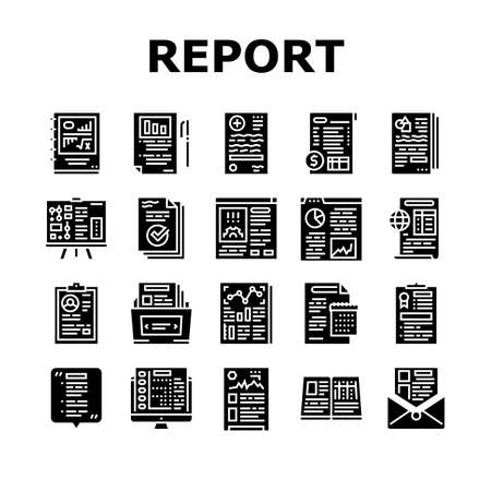 Reports Documentation Collection Icons Set Vector. Scientific And Business, Medical And Financial, Ecology, Technical And Social Reports Glyph Pictograms Black Illustrations