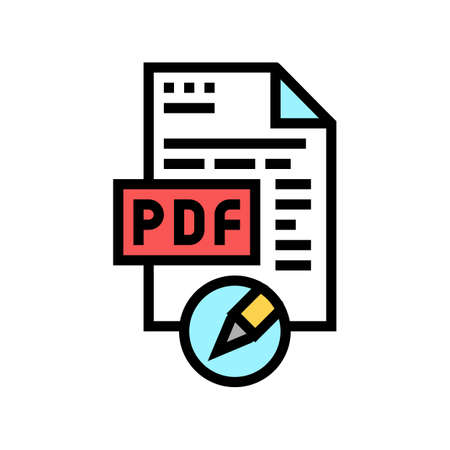 writing and editing pdf file color icon vector. writing and editing pdf file sign. isolated symbol illustration