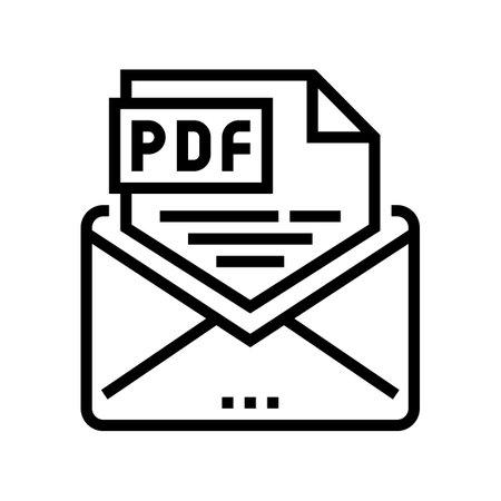 sending pdf file line icon vector. sending pdf file sign. isolated contour symbol black illustration