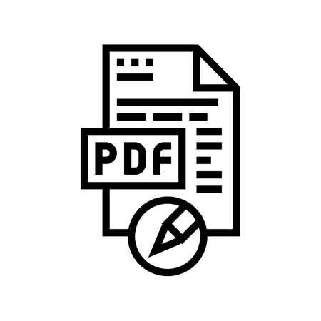 writing and editing pdf file line icon vector. writing and editing pdf file sign. isolated contour symbol black illustration