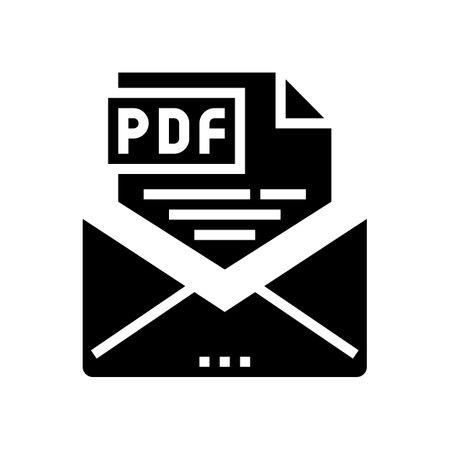 sending pdf file glyph icon vector. sending pdf file sign. isolated contour symbol black illustration