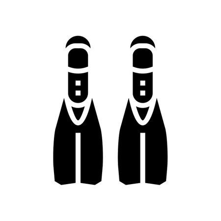 fins diver accessory glyph icon vector. fins diver accessory sign. isolated contour symbol black illustration 일러스트