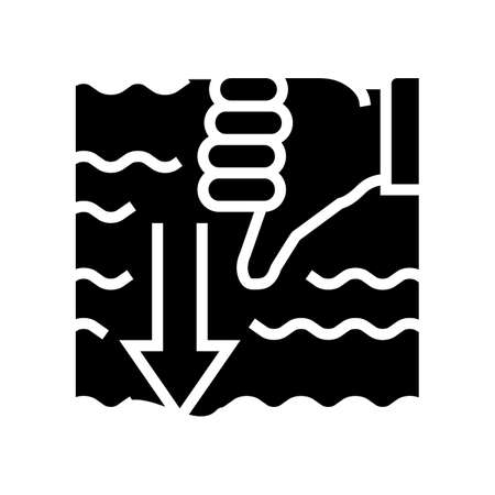 immersion diver gesture glyph icon vector. immersion diver gesture sign. isolated contour symbol black illustration