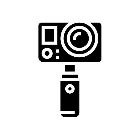 underwater video camera glyph icon vector. underwater video camera sign. isolated contour symbol black illustration