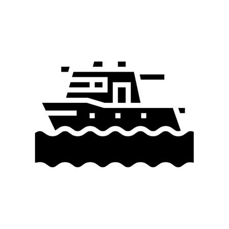 boat floating in sea glyph icon vector. boat floating in sea sign. isolated contour symbol black illustration Reklamní fotografie - 161691290