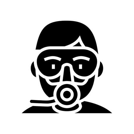 diver mask and breath tool glyph icon vector. diver mask and breath tool sign. isolated contour symbol black illustration Reklamní fotografie - 161691292