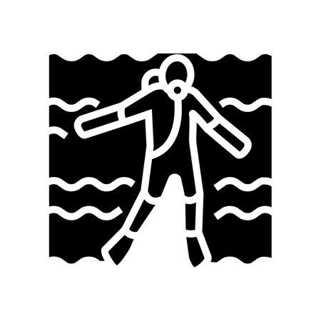 diver swimming underwater glyph icon vector. diver swimming underwater sign. isolated contour symbol black illustration