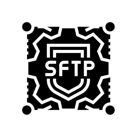sftp label glyph icon vector. sftp label sign. isolated contour symbol black illustration Ilustrace