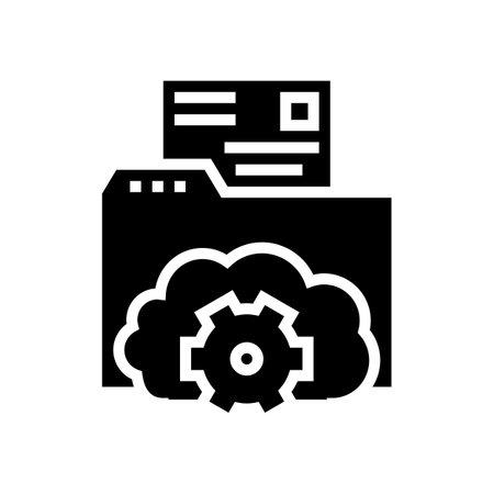 folder file storage work glyph icon vector. folder file storage work sign. isolated contour symbol black illustration