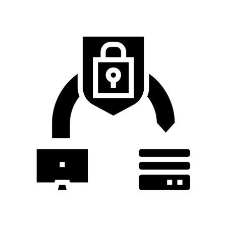 protective file transfer glyph icon vector. protective file transfer sign. isolated contour symbol black illustration 일러스트