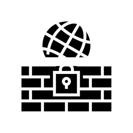 wall protection worldwide internet glyph icon vector. wall protection worldwide internet sign. isolated contour symbol black illustration