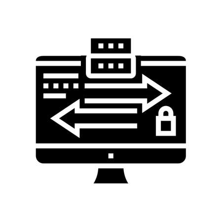 data exchange between servers glyph icon vector. data exchange between servers sign. isolated contour symbol black illustration Reklamní fotografie - 161691562