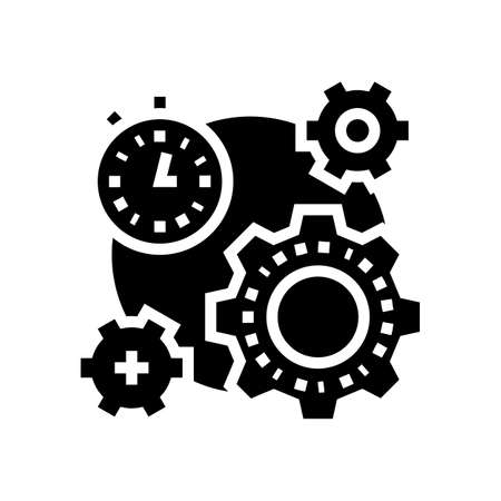 working process time glyph icon vector. working process time sign. isolated contour symbol black illustration Ilustrace