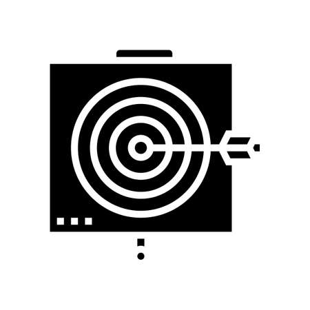 arrow on target glyph icon vector. arrow on target sign. isolated contour symbol black illustration