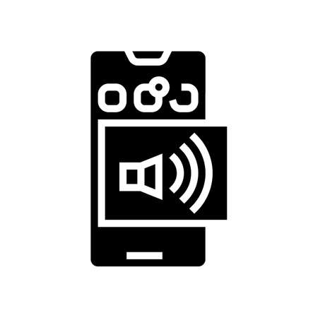 tasks on phone display glyph icon vector. tasks on phone display sign. isolated contour symbol black illustration