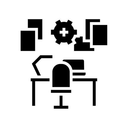 workplace organisation glyph icon vector. workplace organisation sign. isolated contour symbol black illustration Ilustrace